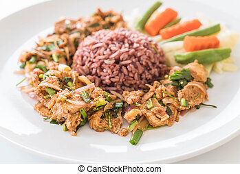 Hot and Spicy Grilled Pork Salad with Berry Rice
