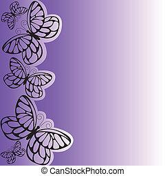 purple butterfly - several black butterflies on asymmetrical...