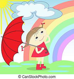 girl under the rainbow