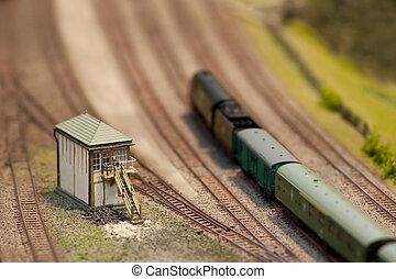 signal box and locomotive on a miniature train set - shallow...