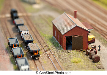 train set freight - building and freight wagons on a...