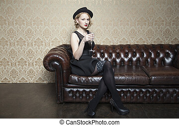beautiful lady with a glass of champagne