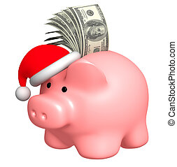 Money to Christmas. Object over white