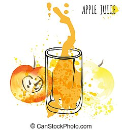 Apple juice splash vector watercolor illustration. Apple with splash and glass isolated on white background. Apple drink flow with fruits and fresh splashes.