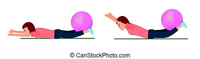 Young girl. Sportswoman. Exercise with fitball. - Young...