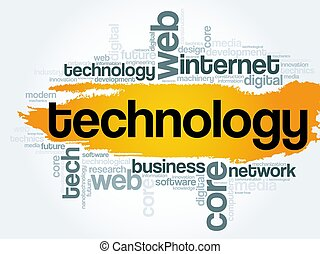 Technology word cloud, technology business concept...