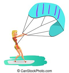 Woman drive at kite surfing. Girl windsurfing on water...