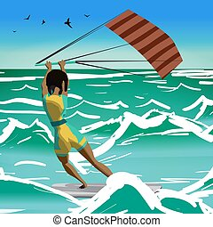 Afro woman drive at kite surfing. Back view. Girl...
