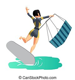 Woman drive at kite surfing. Back view. Girl loses her...
