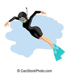 A young woman in diving suit snorkeling.