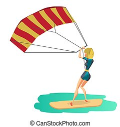 Woman drive at kite surfing. Back view. Girl windsurfing on...