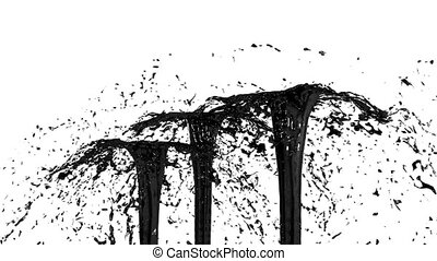 Beautiful fountain spray liquid like black paint. 3d on white background with alpha channel use alpha mask. Top of a fountain with vortex liquid. Version 3