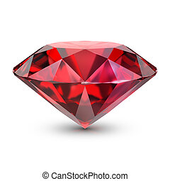 ruby - Ruby. 3d image. Isolated white background.