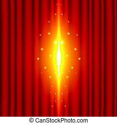 The background image of the red curtain is open with the beam coming out. grand opening