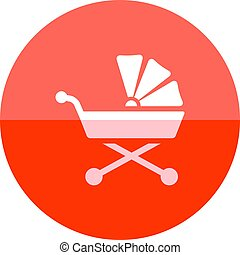 Circle icon - Baby stroller - Baby stroller icon in flat...