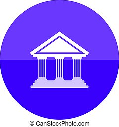Circle icon - Bank building - Bank building icon in flat...