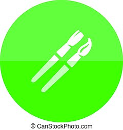 Circle icon - Paint brushes - Paint brushes icon in flat...