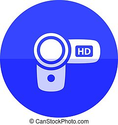 Circle icon - Camcorder - Camcorder icon in flat color...