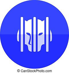 Circle icon - Caged animal - Caged animal icon in flat color...