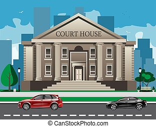 Front view of court house. Flat style modern vector...