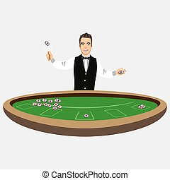 Casino croupier with poker chips. Vector illustration