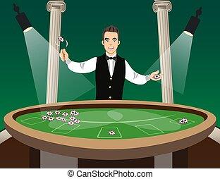 Man casino croupier character.