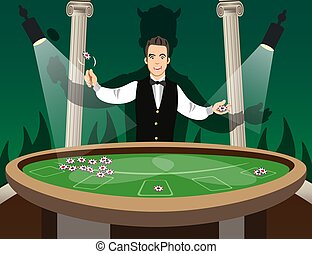 Croupier Behind Roulette Table. Casino Gambling. Vector...