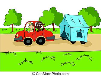 The trailering. Driver with a dog ride in the car with a tent on the trailer. Cartoon vector illustration.
