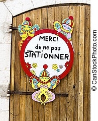 stopping, sign in french magazine