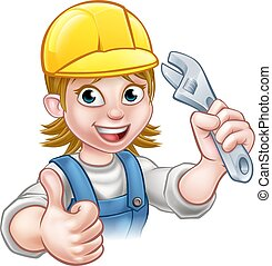 Mechanic or Plumber Woman Holding Spanner