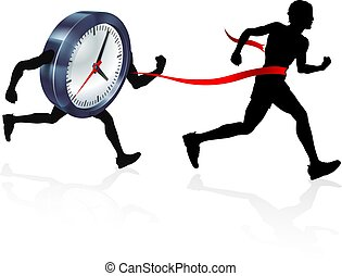 Race Against Time - A man running racing against a clock...