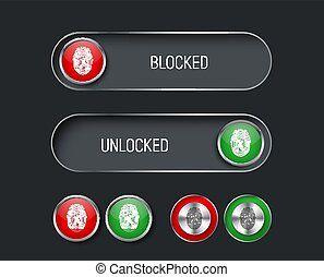 set of sliders, switches and buttons red and green.