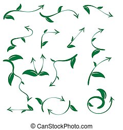 Set of ecological leaf arrow on white background
