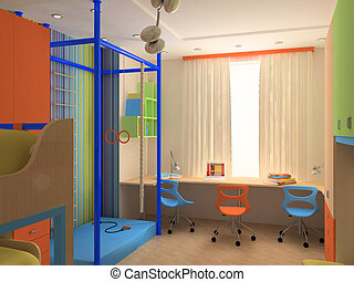 Corner of Child`s bedroom with colorful furniture