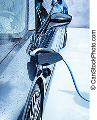 Electric vehicle being plugged in or unplugged