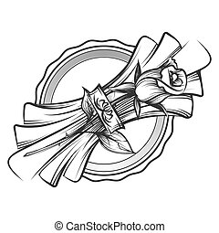 Romantic table setting. Vector hand drawn rose and napkin on...