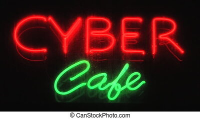 Cyber caf - Red and green neon sign advertising an Internet...