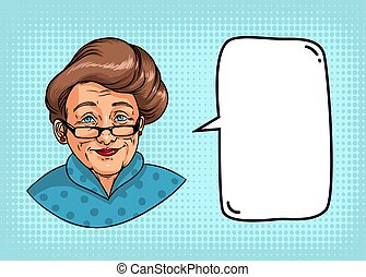 Stylish grandmother with retro hairstyle, glasses, red lipstick. Portrait of elderly woman and speech bubble for text. Colorful comics illustration.