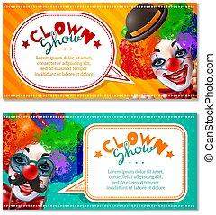 Circus Clown Show 2 Horizontal Banners - Circus show 2...