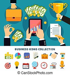Business Flat Icons Collection - Business icon set of flat...