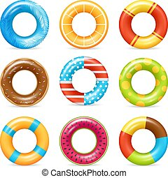 Realistic Colorful Life Rings Set - Life buoy swimming rings...
