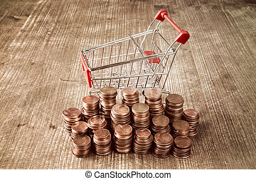 Retail,sale or marketing concept - Shopping cart with Euro...