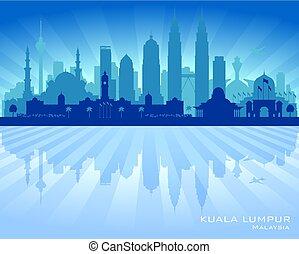 Kuala Lumpur Malaysia city skyline vector silhouette