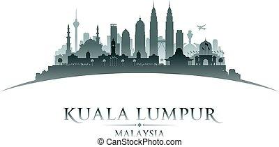 Kuala Lumpur Malaysia city skyline silhouette white background