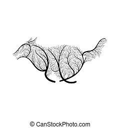 running wolf stylized bush