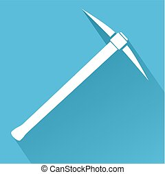 Silhouette of Pickaxe. Flat design vector illustration