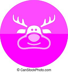 Circle icon - Rudolph - Rudolph the moose icon in flat color...