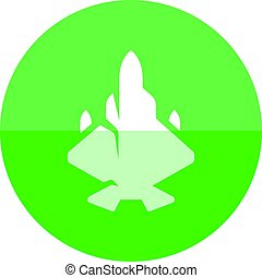 Circle icon - Fighter jet - Fighter jet icon in flat color...