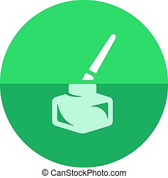 Circle icon - Ink pot - Ink pot icon with brush in flat...