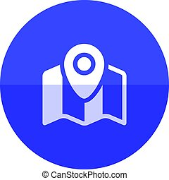 Circle icon - Road map - Road map icon with pin location in...